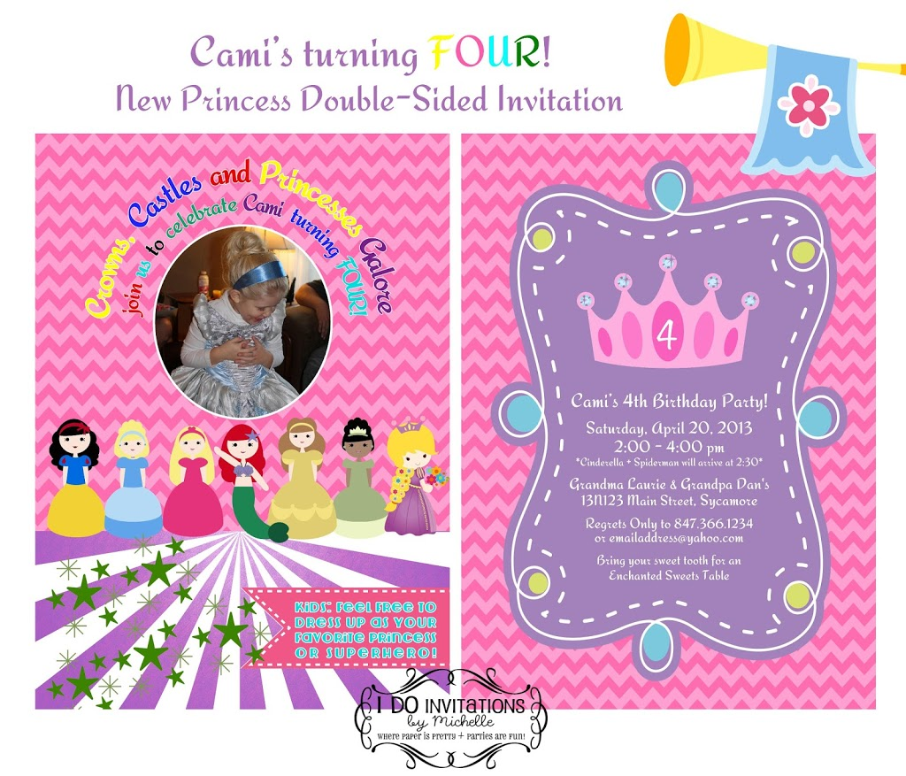 Camis 4th Birthday Party Invitation Disney Princess Inspired