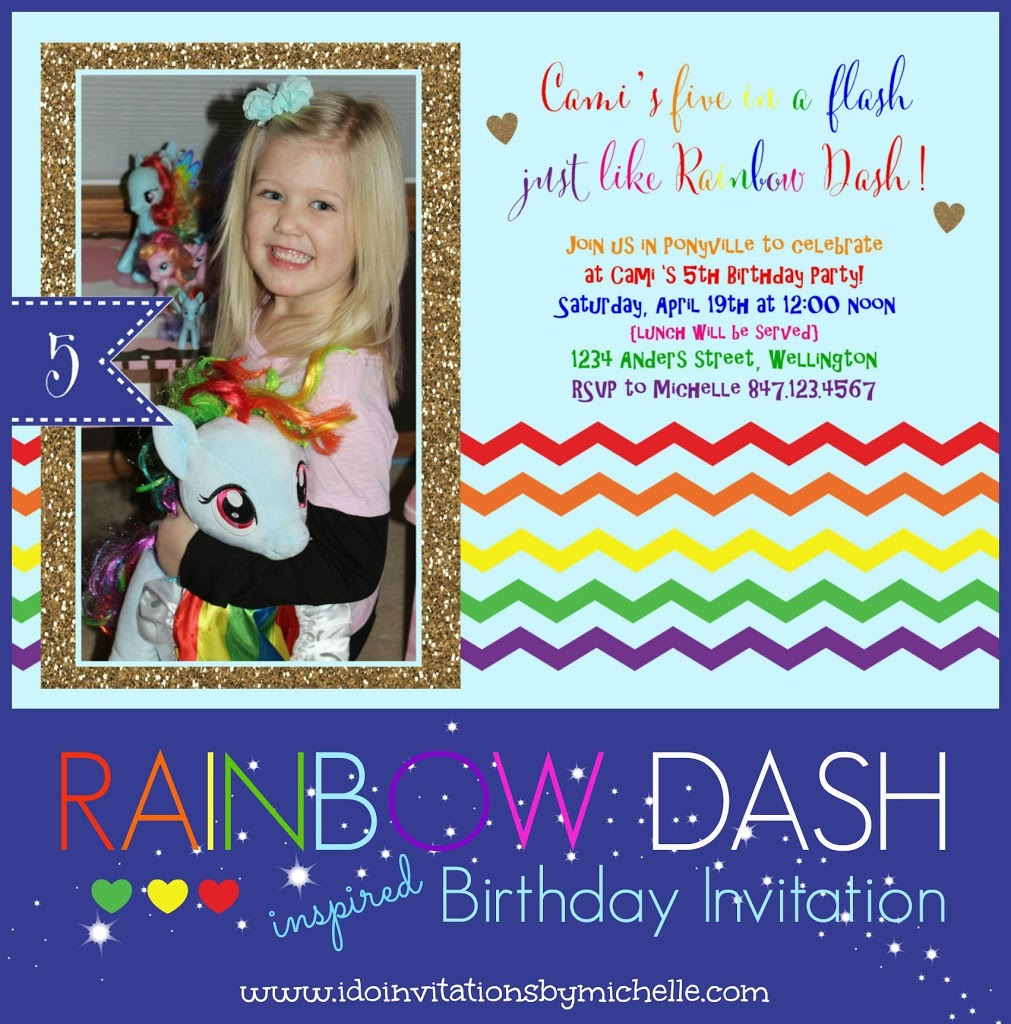 Cami\'s 5th Birthday Invitation - Rainbow Dash – Ellery Designs