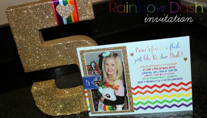 Cami's 5th Birthday Invitation – Rainbow Dash