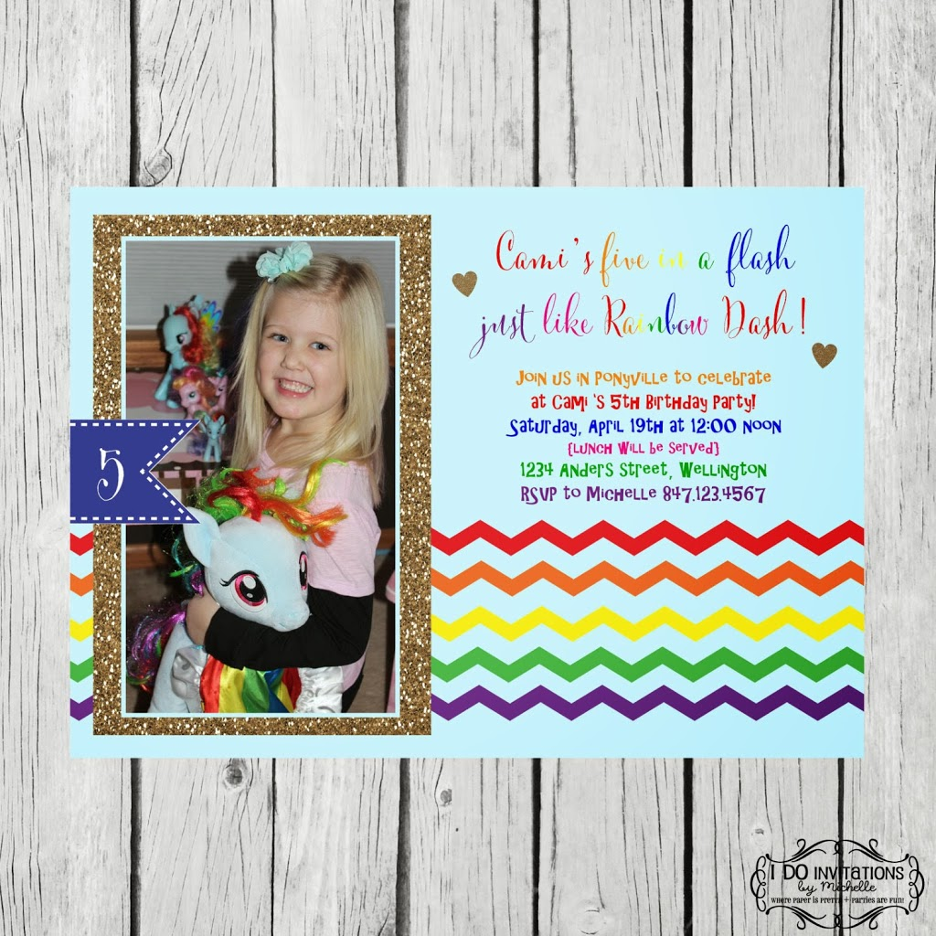 cami s 5th birthday invitation rainbow dash ellery designs
