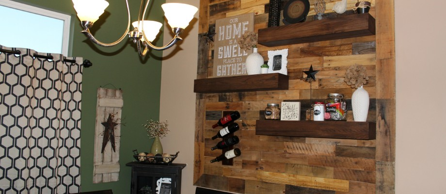 Dining Room Remodel – Pallet Wall + Floating Shelves