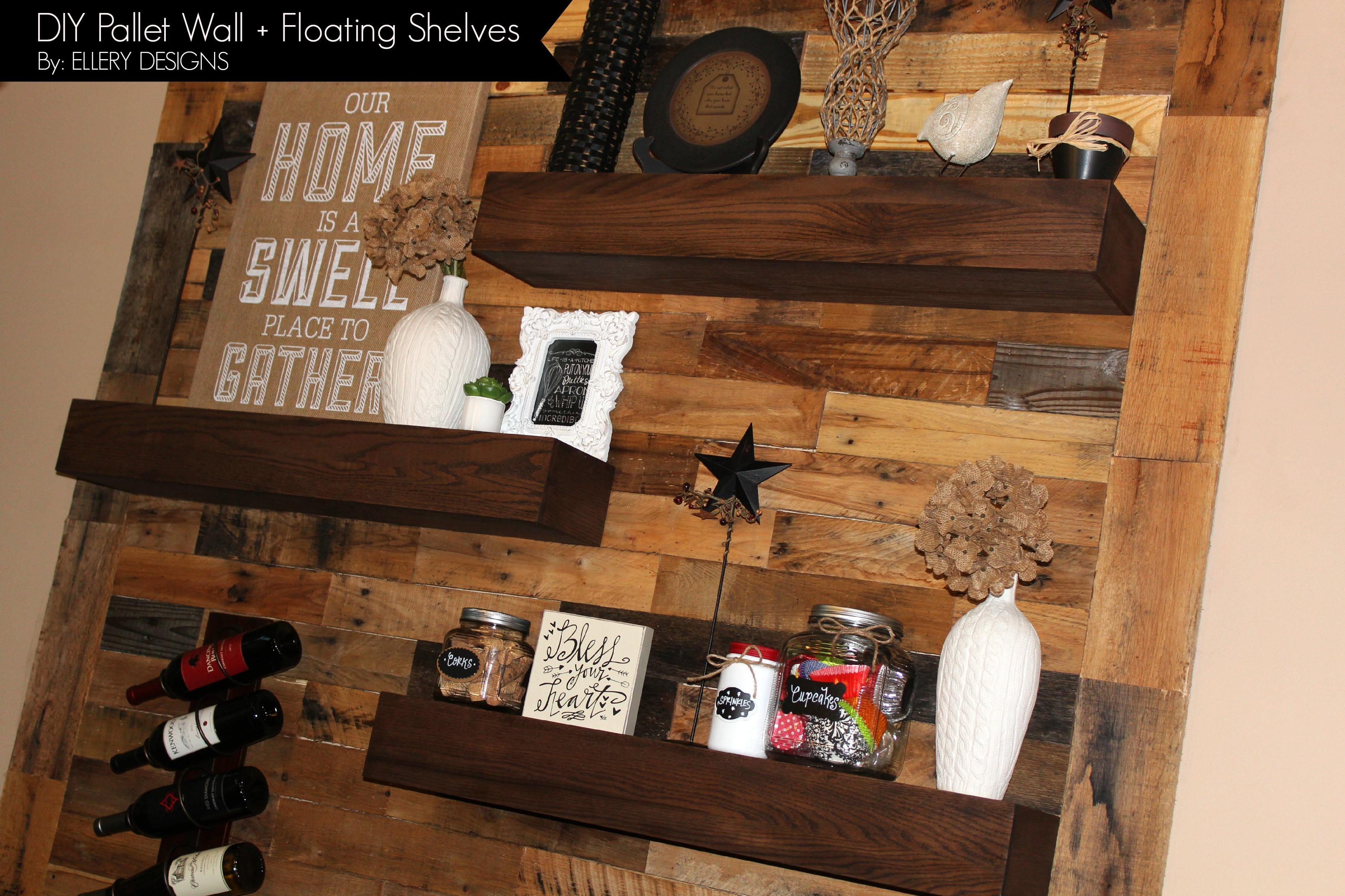 Dining room remodel pallet wall floating shelves for Making storage shelves out of pallets