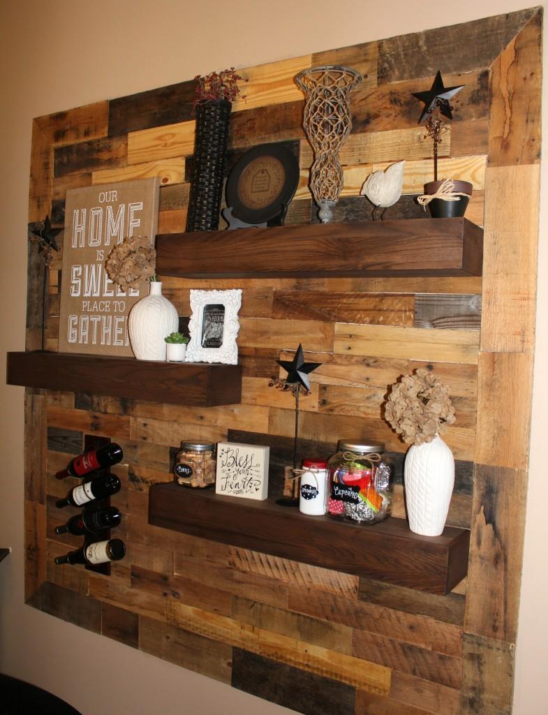 dining room remodel pallet wall floating shelves ellery designs. Black Bedroom Furniture Sets. Home Design Ideas