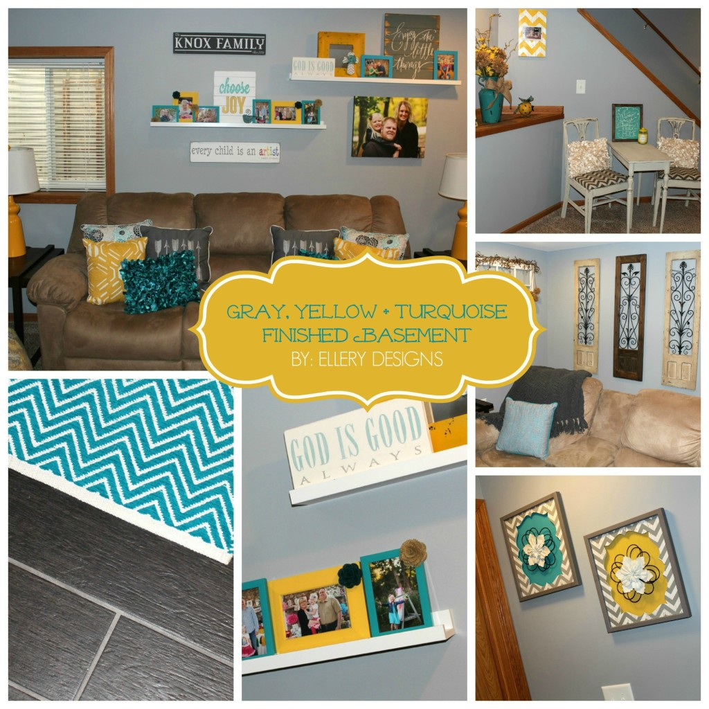 Our Finished Basement Gray Yellow Turquoise Ellery Designs