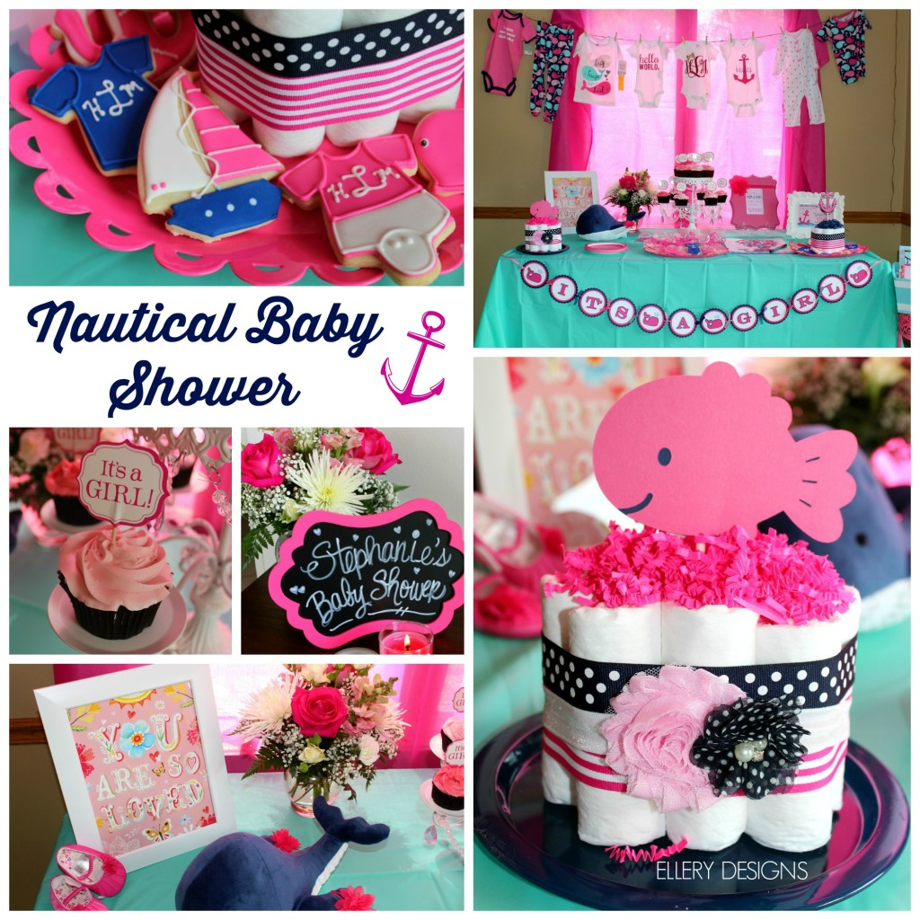 It's a Girl - Navy + Pink Nautical Baby Shower – Ellery Designs