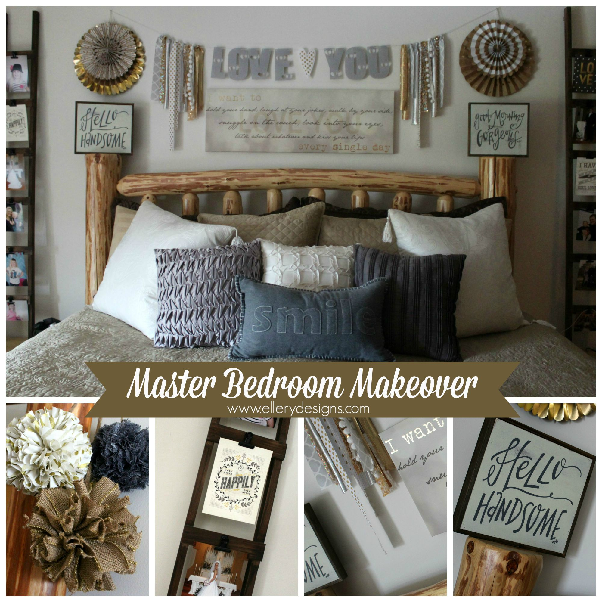 Master Bedroom Makeover Gold Gray Rustic Glam Ellery Designs
