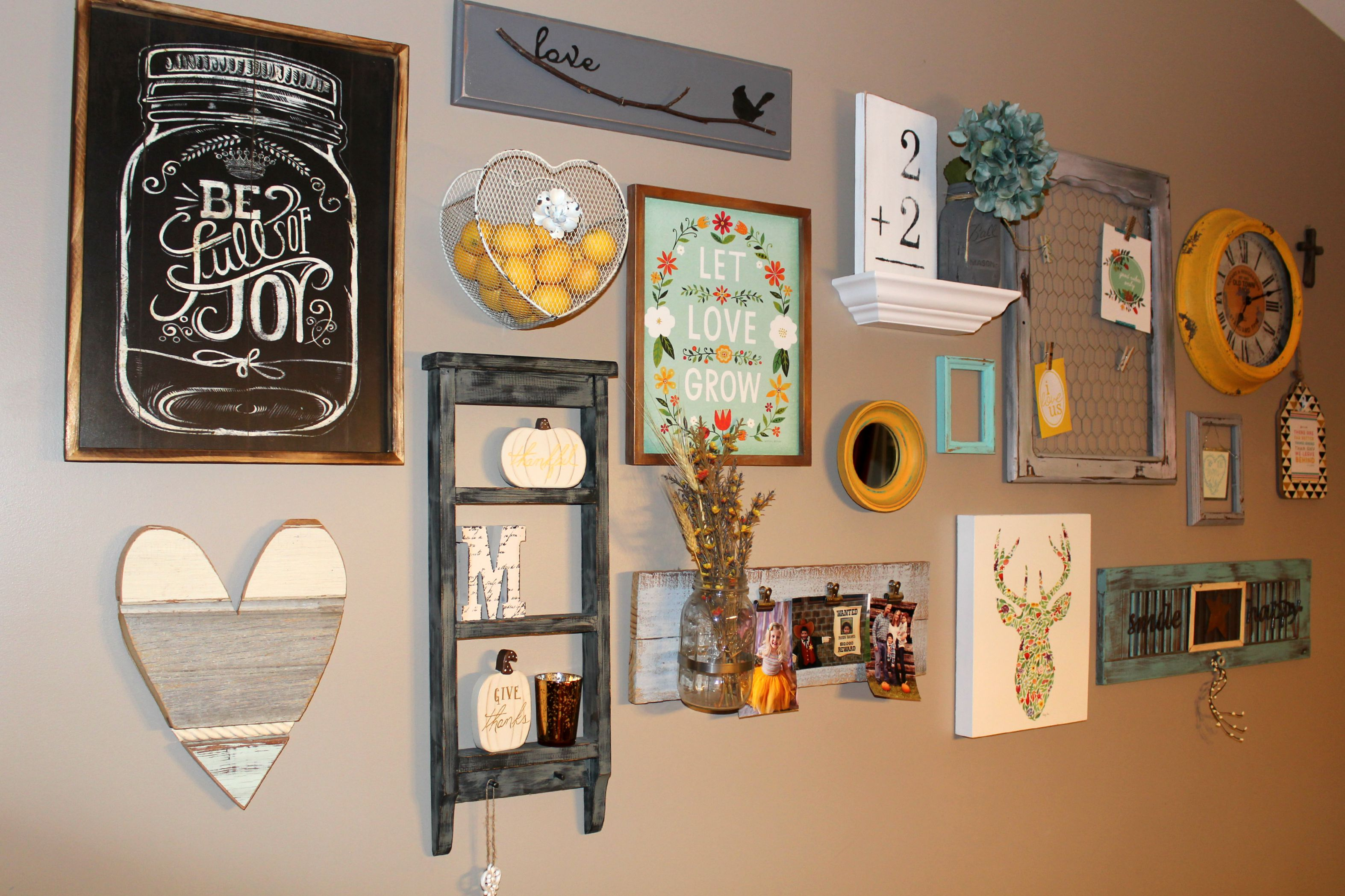 Rustic glam gallery wall ellery designs for Kitchen frames ideas