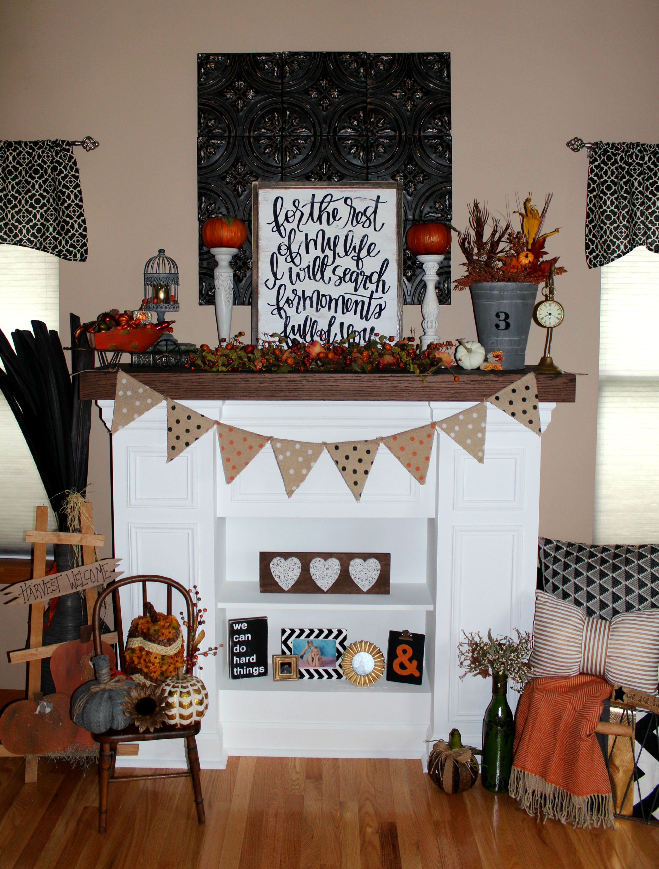 Fireplace mantel decorating for fall ellery designs Target fall home decor