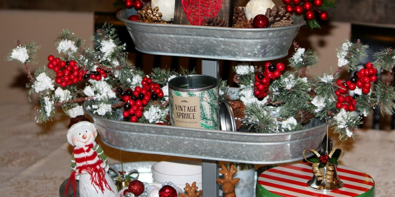 Christmas Galvanized Tray Decor