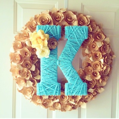 DIY Yarn Monogram Wreath for Spring