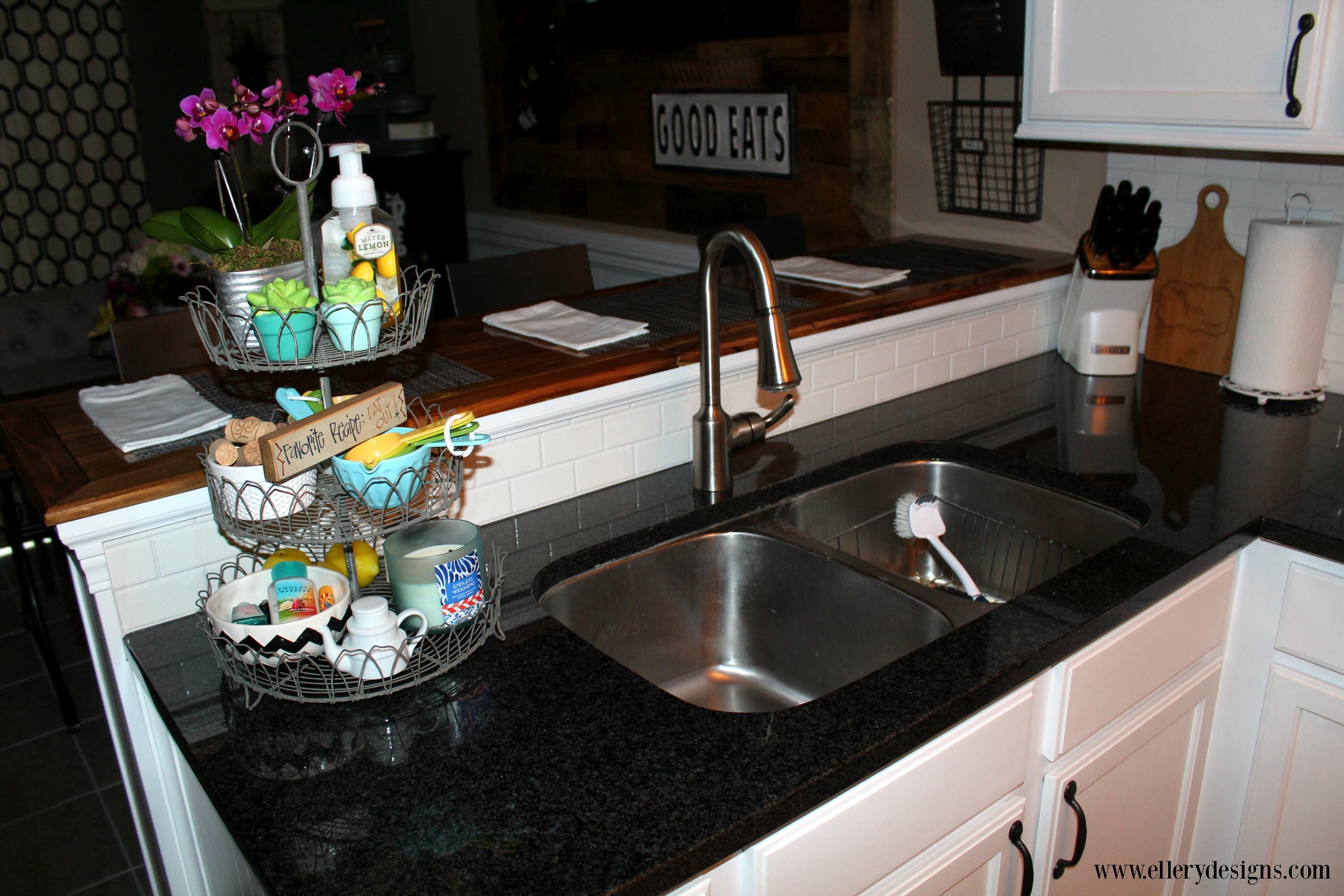 Beautiful White Industrial Farmhouse Kitchen Makeover - ElleryDesigns.com