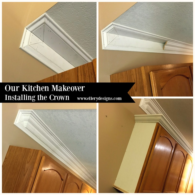 DIY Kitchen Makeover by Ellery Designs - Installing the Crown Molding