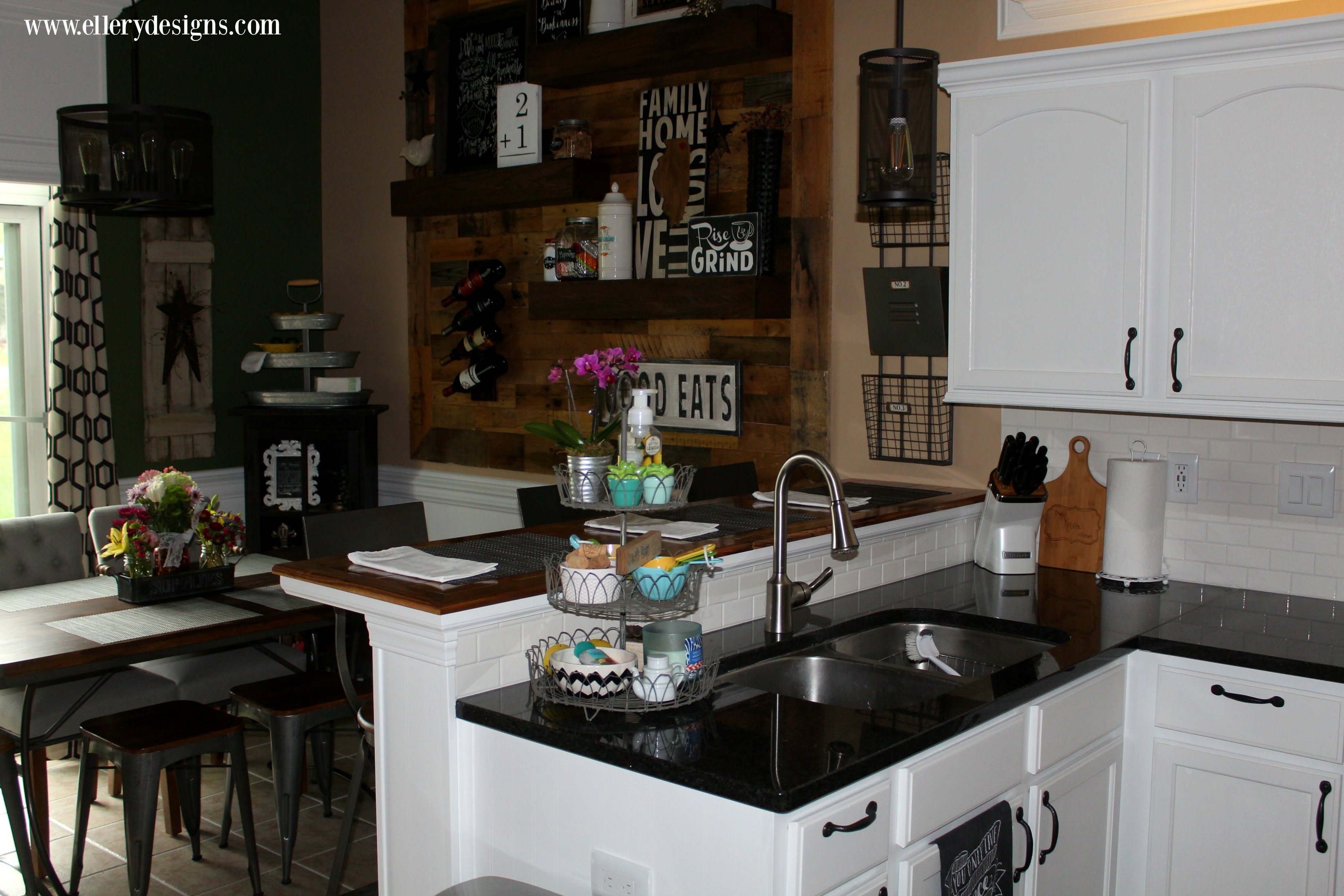 Beautiful White Industrial Farmhouse Kitchen Makeover - ElleryDesigns.com