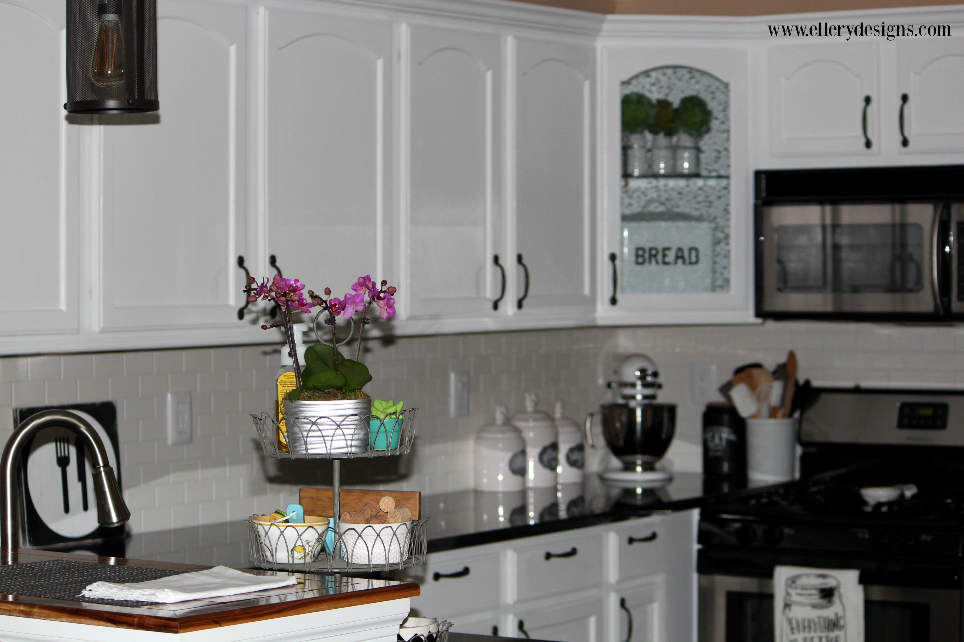 Stunning DIY White Kitchen Makeover - ElleryDesigns.com