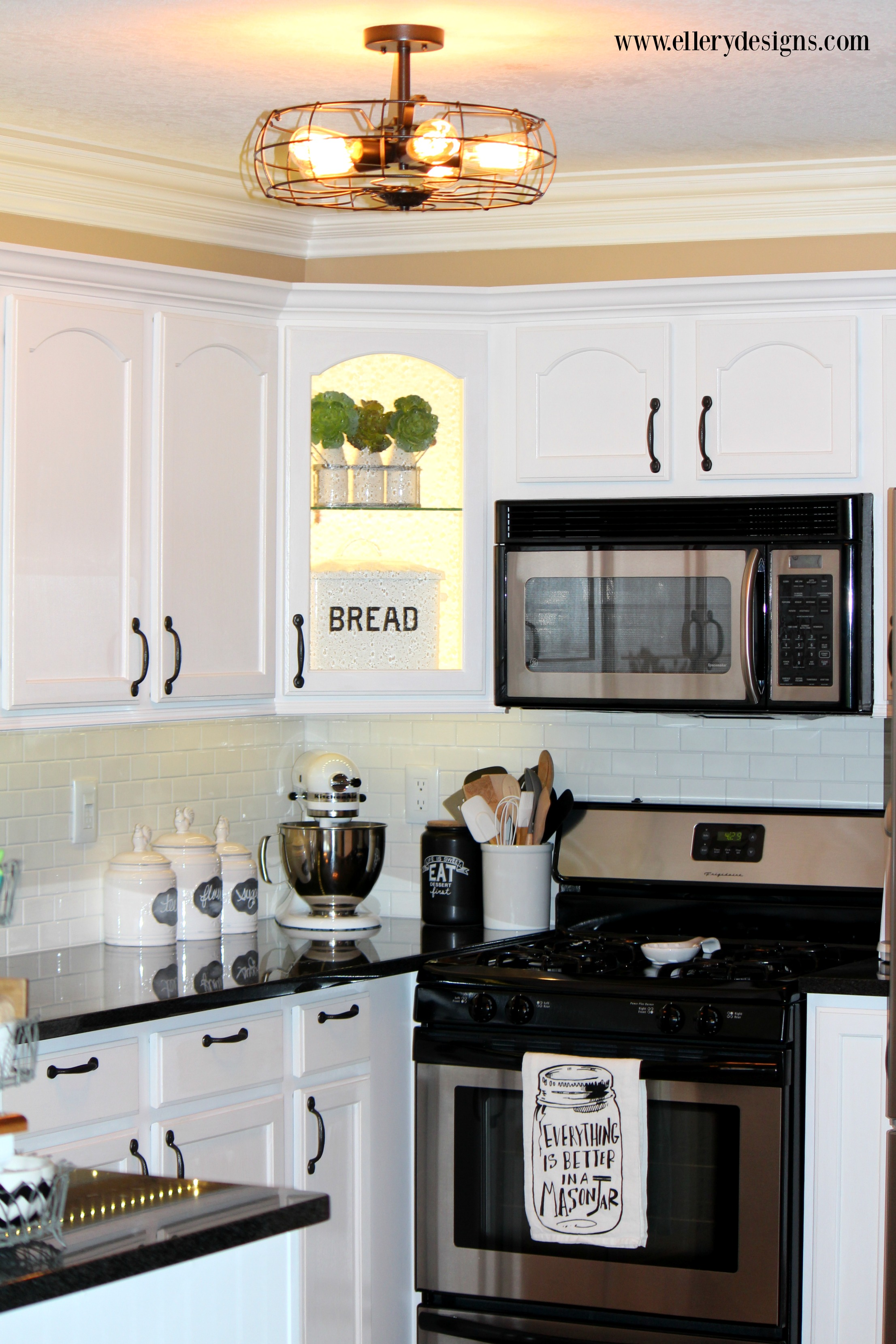 Fabulous White Kitchen Makeover - ElleryDesigns.com