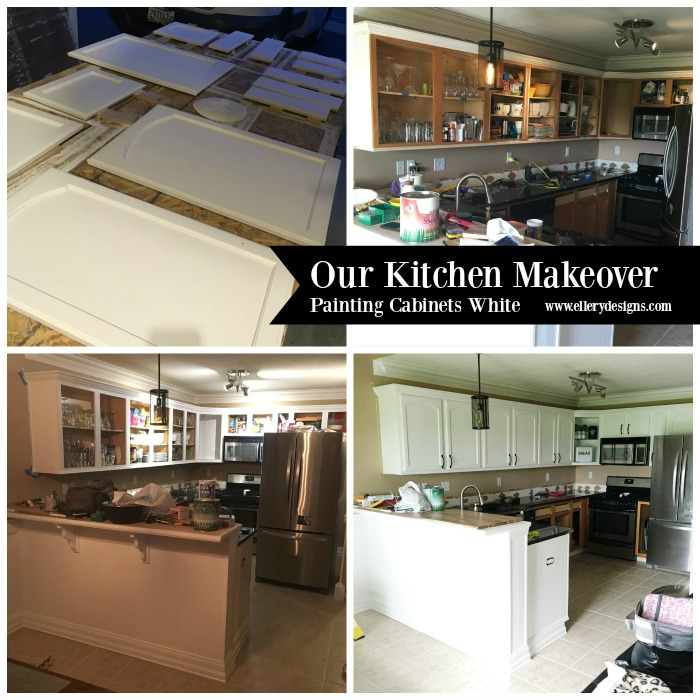 Painting Your Kitchen Cabinets White - ElleryDesigns.com