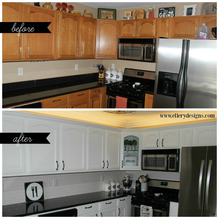 Our diy kitchen remodel painting your cabinets white for What is the best way to paint kitchen cabinets white
