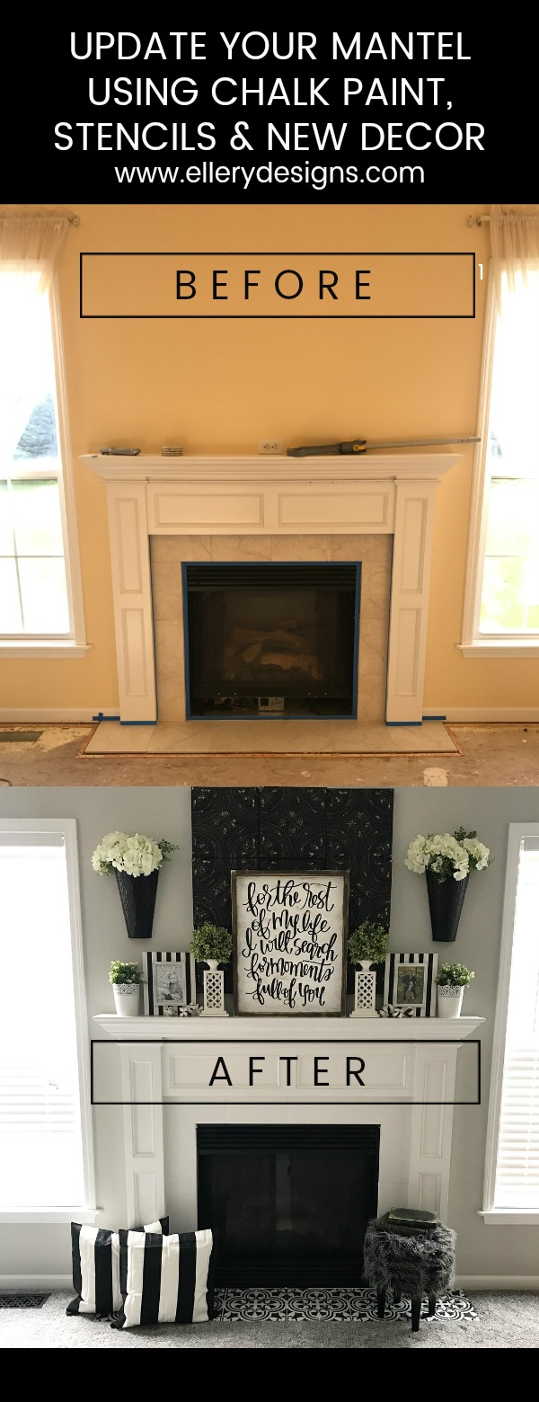 Fireplace Makeover Stencil Tile Using Chalk Paint Ellery Designs