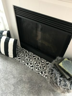 Fireplace Makeover: Stencil Tile using Chalk Paint