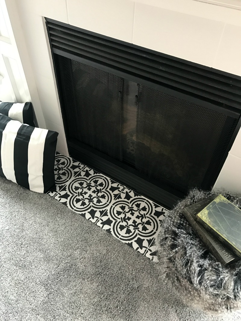 Fireplace Makeover Stencil Tile Using Chalk Paint